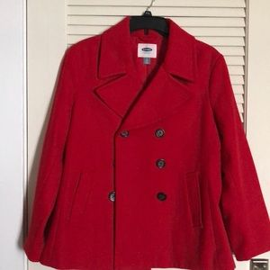 Red Old Navy Peacoat - Never Worn!